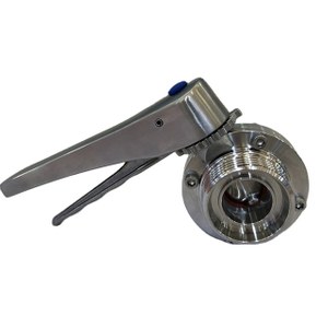 Sanitary DIN11851 Thread Butterfly Valve Manually SS Lever Handle