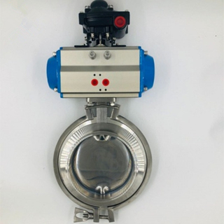 Hygienic Stainless Steel Pneumatic Actuated Butterfly Valve w/ Positioner