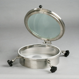 Sanitary Stainless Steel Full Sight Glass Mash Tun Tank Manway Cover 15psi