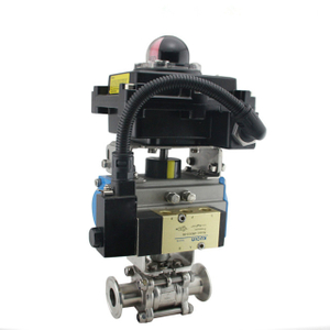 Air Actuated Sanitary Stainless Steel Ball Valve w/ Solenoid Valve